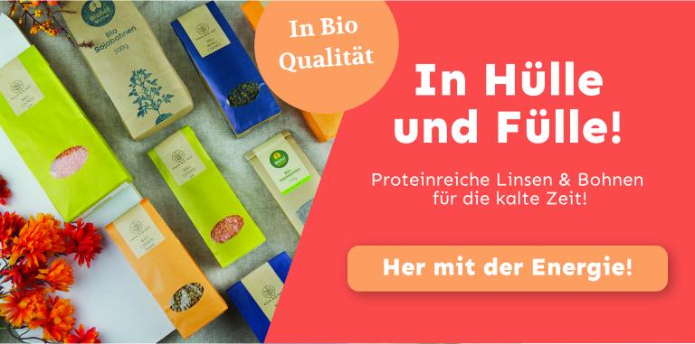 Regionale Bio Linsen, Bio Schwarze Bohnen, Bio Soja Bohnen